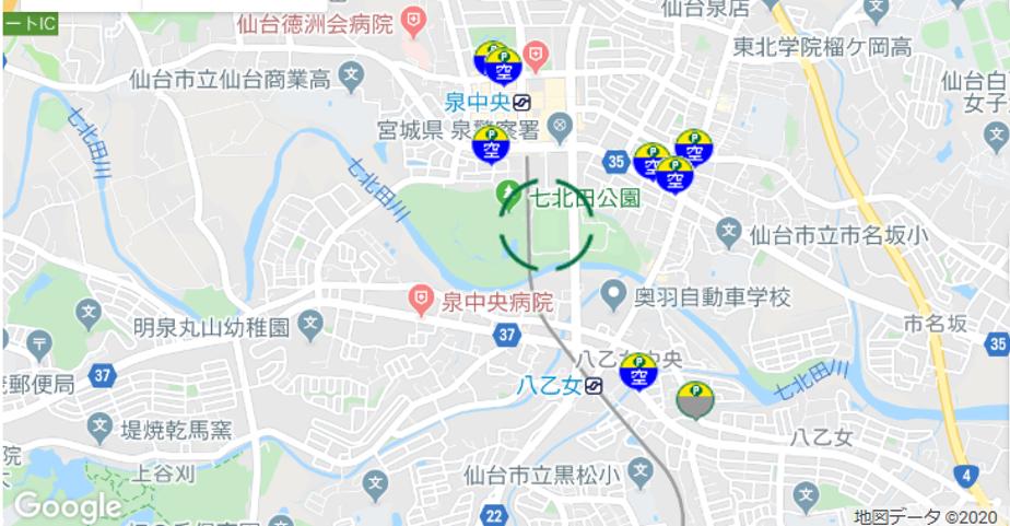 ユアテックスタジアム仙台周辺のリパーク駐車場
