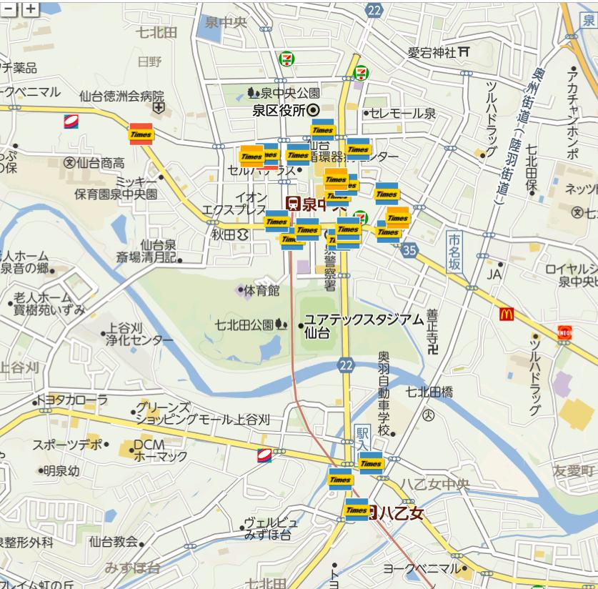 ユアテックスタジアム仙台周辺駐車場